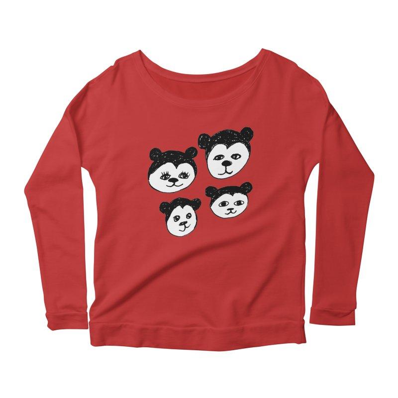Panda Heads Women's Scoop Neck Longsleeve T-Shirt by Cowboy Goods Artist Shop