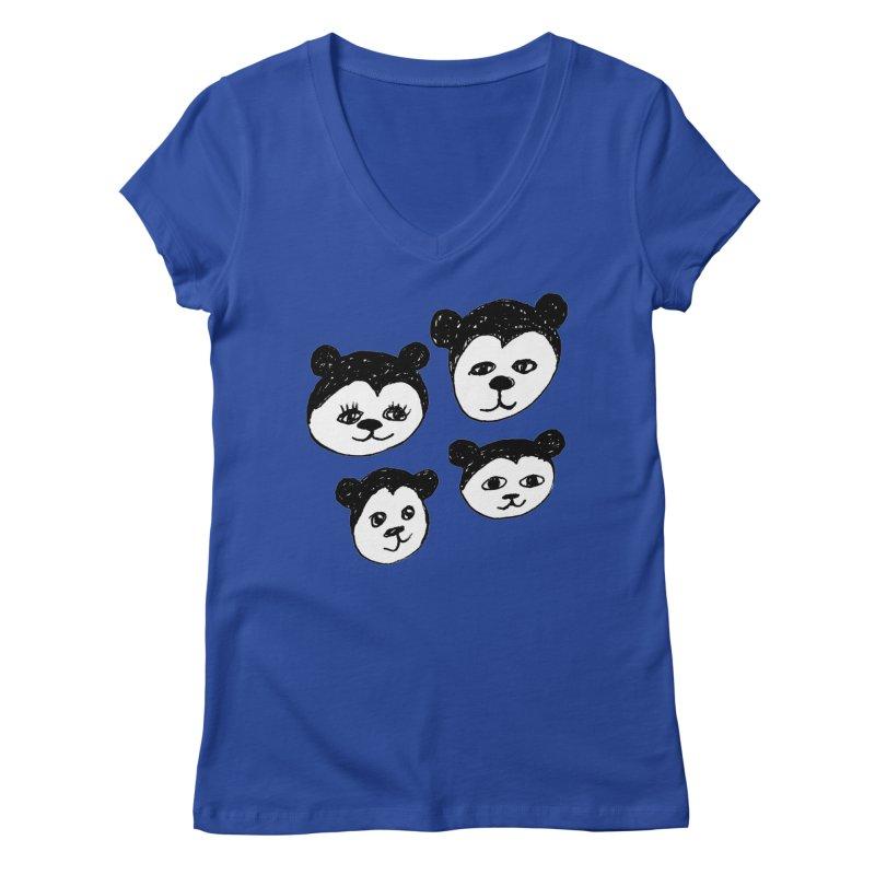 Panda Heads Women's Regular V-Neck by Cowboy Goods Artist Shop