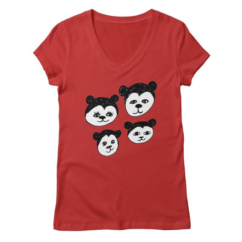 Panda Heads Women's V-Neck by Cowboy Goods Artist Shop