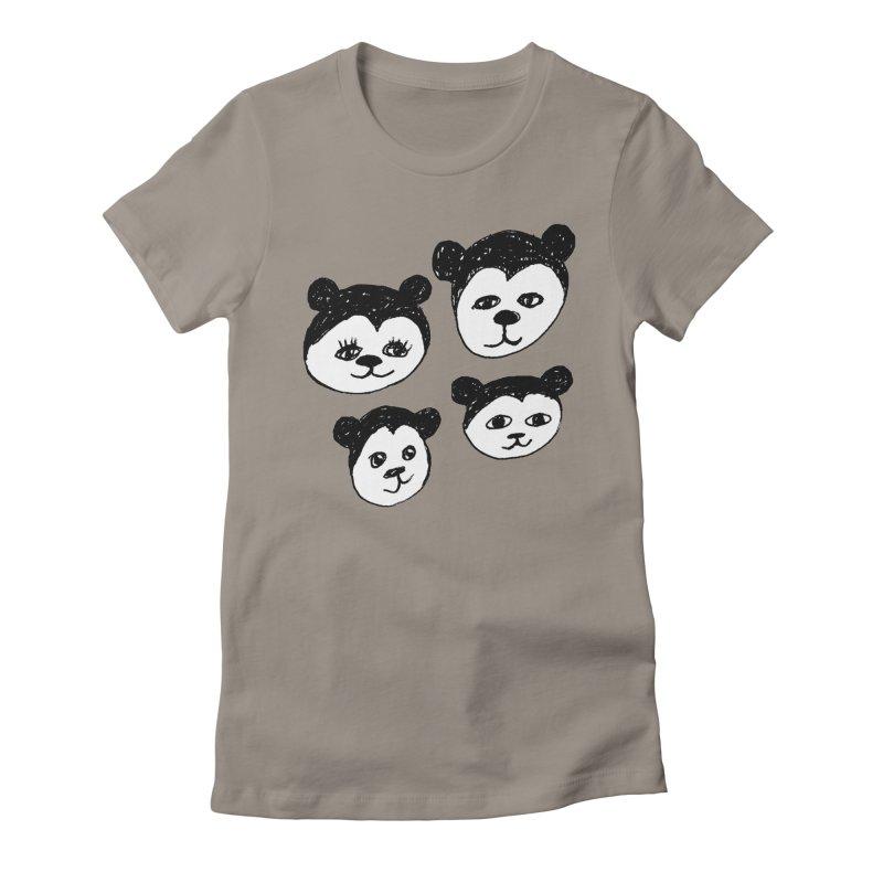 Panda Heads Women's Fitted T-Shirt by Cowboy Goods Artist Shop