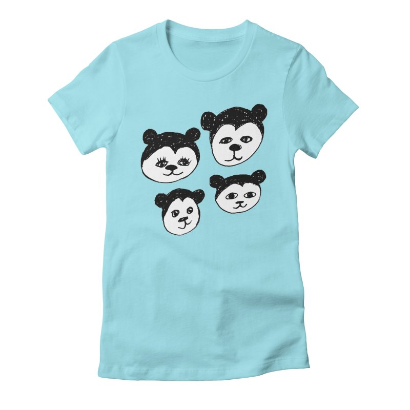 Panda Heads Women's Fitted T-Shirt by Cowboy Goods Artist Shop