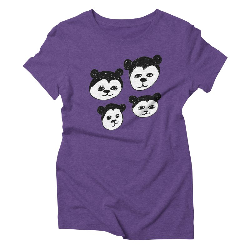 Panda Heads Women's Triblend T-Shirt by Cowboy Goods Artist Shop