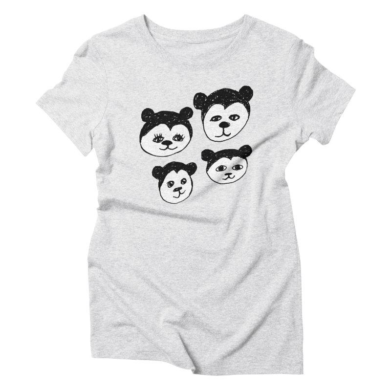 Panda Heads Women's Triblend T-Shirt by Cowboy Goods Artist Shop