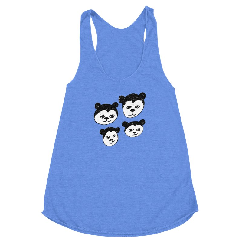 Panda Heads Women's Racerback Triblend Tank by Cowboy Goods Artist Shop