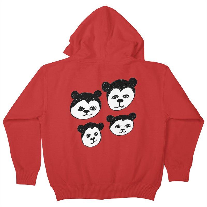 Panda Heads Kids Zip-Up Hoody by Cowboy Goods Artist Shop