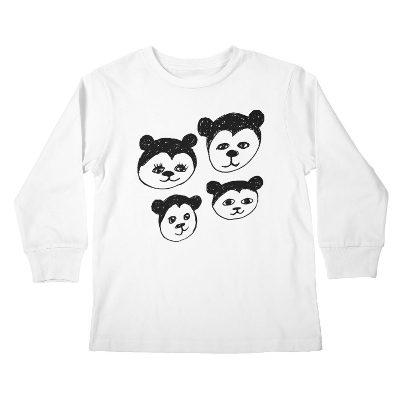 Panda Heads Kids Longsleeve T-Shirt by Cowboy Goods Artist Shop