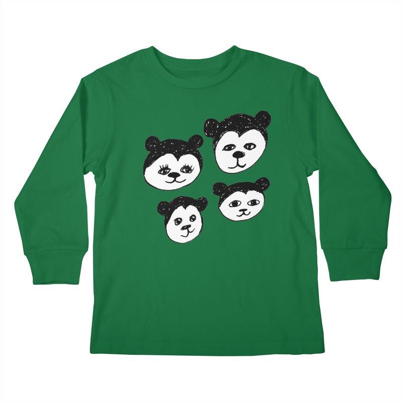 Panda Heads Kids Longsleeve T-Shirt by Cowboy Goods Artist Shop