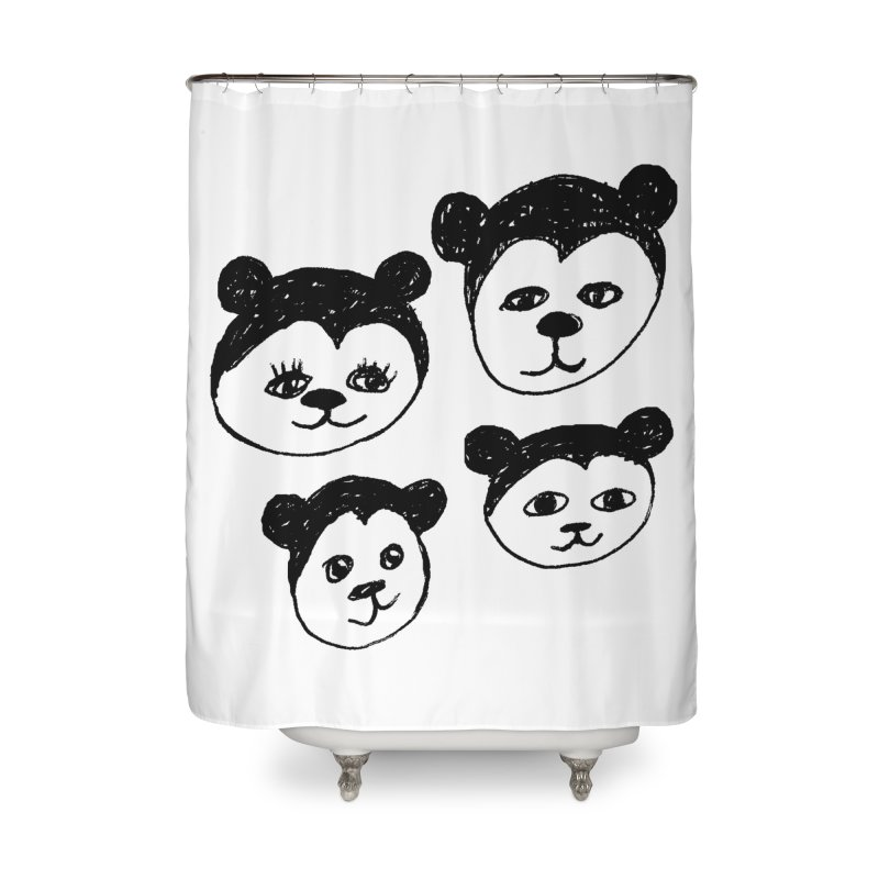Panda Heads Home Shower Curtain by Cowboy Goods Artist Shop
