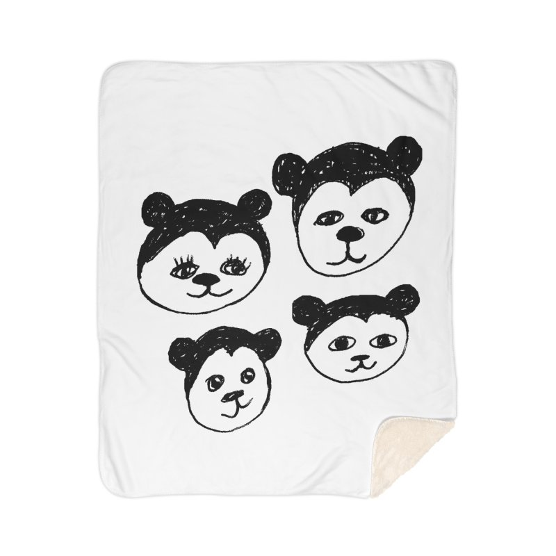 Panda Heads Home Sherpa Blanket Blanket by Cowboy Goods Artist Shop