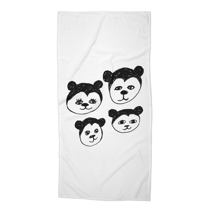 Panda Heads Accessories Beach Towel by Cowboy Goods Artist Shop