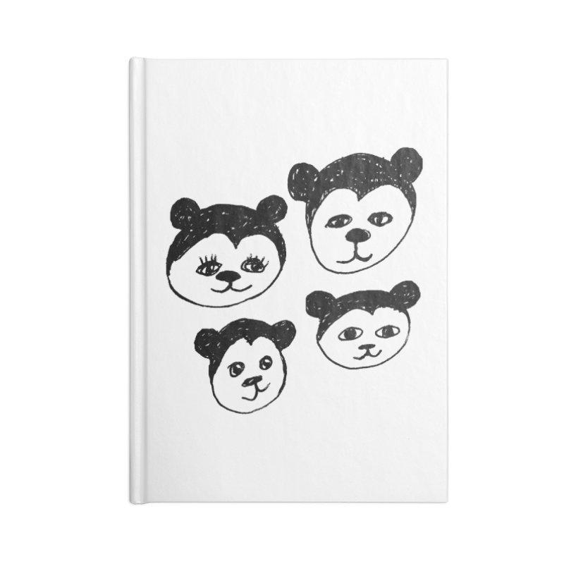 Panda Heads Accessories Lined Journal Notebook by Cowboy Goods Artist Shop