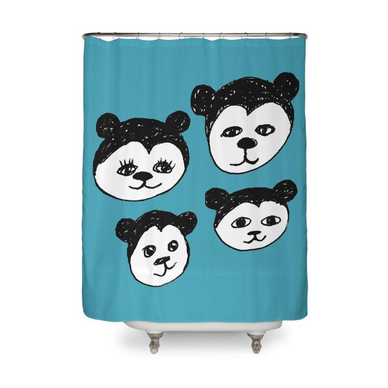 Panda Heads Home Shower Curtain by Cowboy Goods Artist Shop