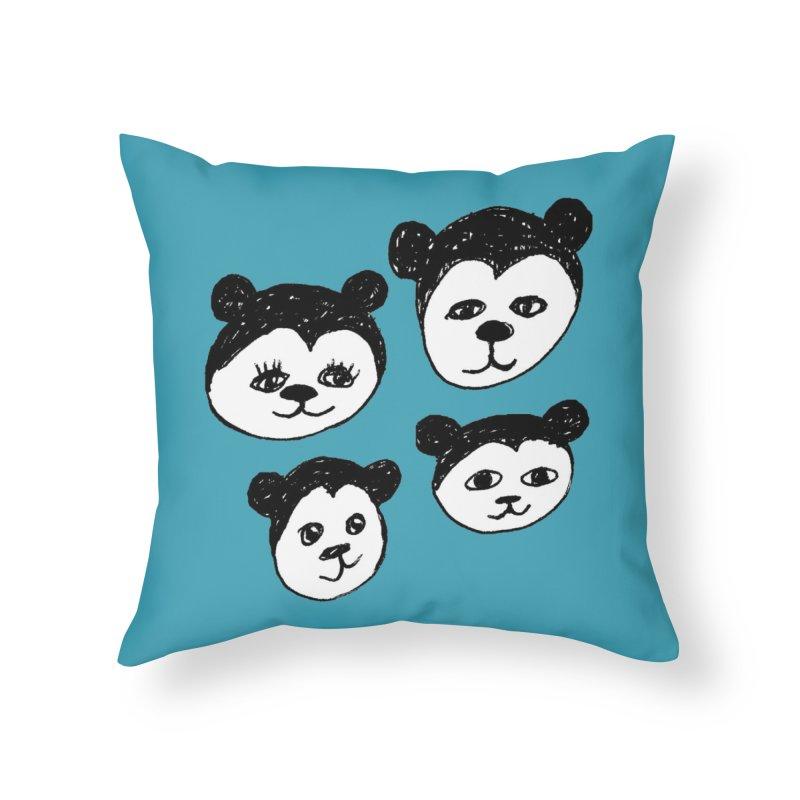 Panda Heads Home Throw Pillow by Cowboy Goods Artist Shop