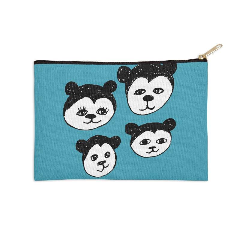 Panda Heads Accessories Zip Pouch by Cowboy Goods Artist Shop