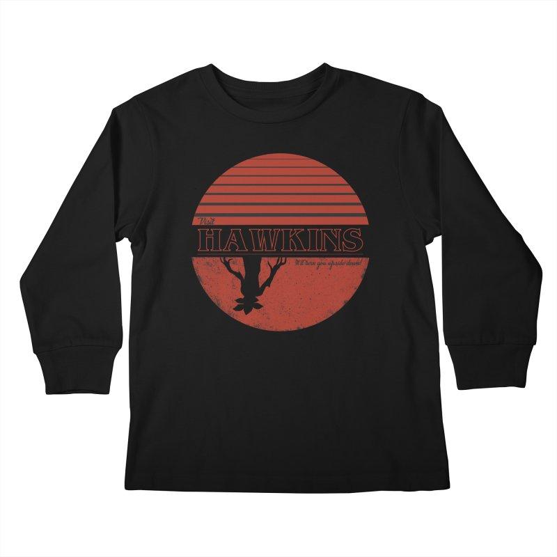 Visit Hawkins Kids Longsleeve T-Shirt by coyotealert