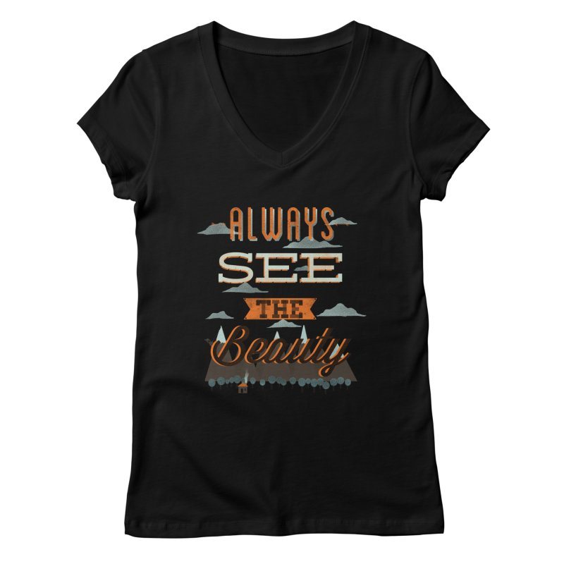 Always See The Beauty Women's V-Neck by coyotealert