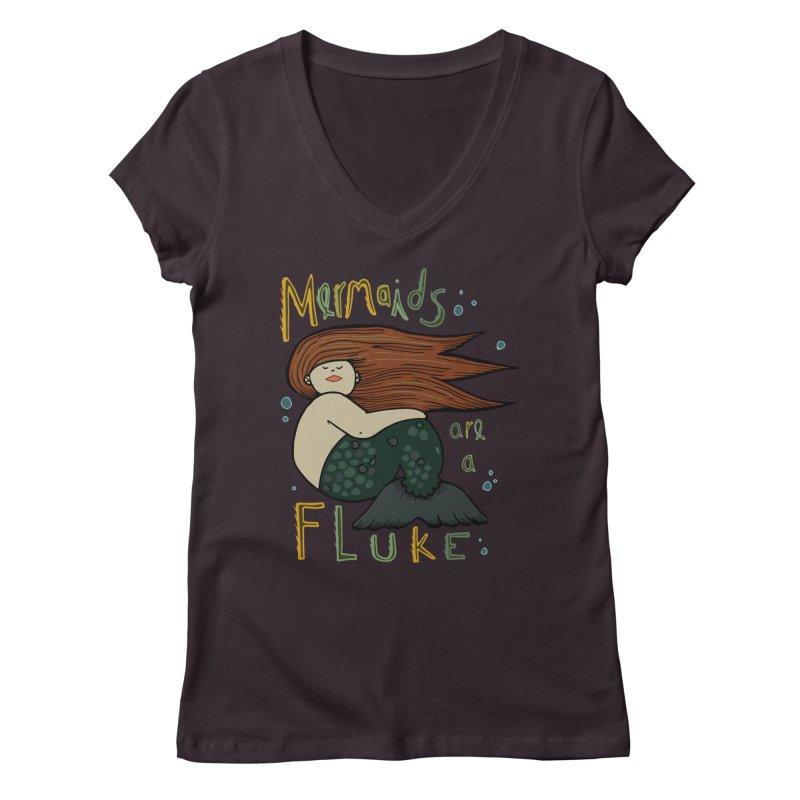 MERMAIDS are a FLUKE Women's Regular V-Neck by CYCLOPS PIRATE Artist Shop