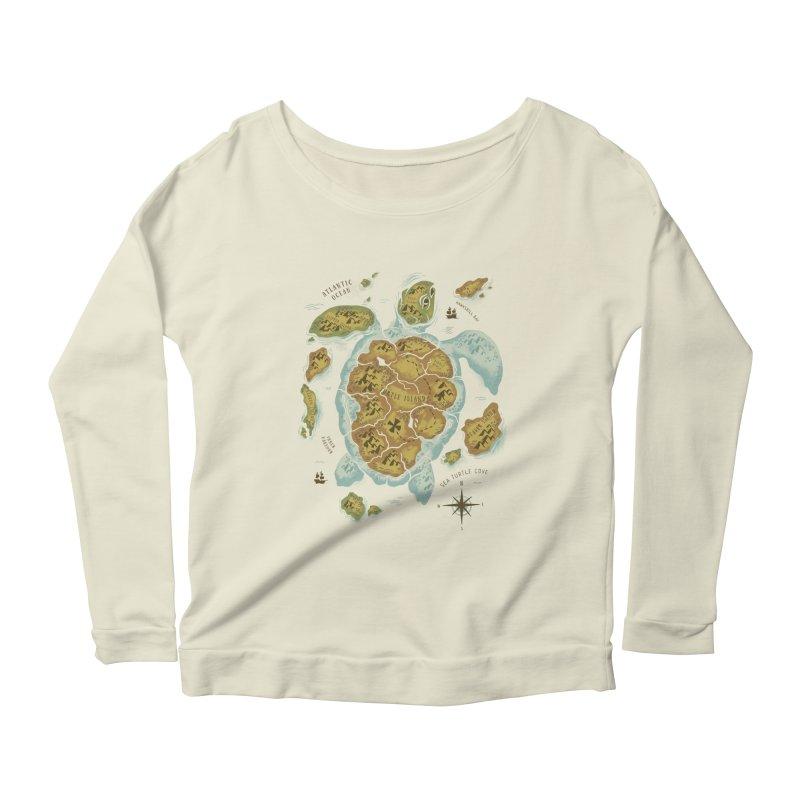 Turtle Island Women's Longsleeve Scoopneck  by CPdesign's Artist Shop