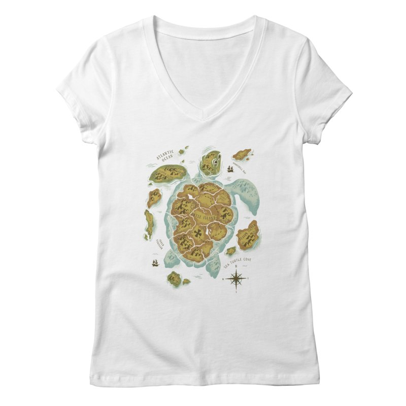 Turtle Island Women's V-Neck by CPdesign's Artist Shop