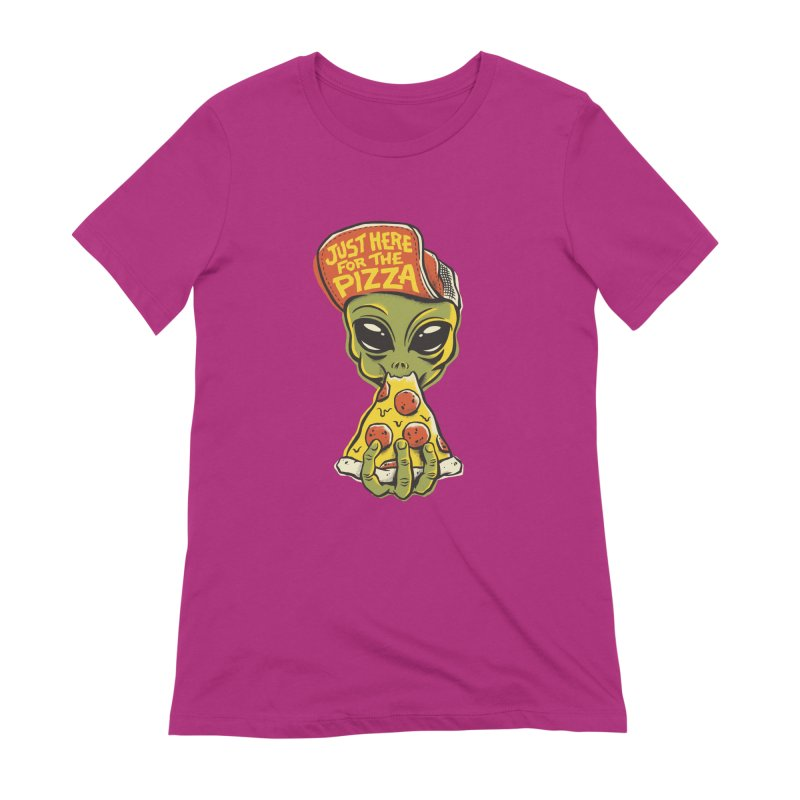 Here For Pizza Women's Extra Soft T-Shirt by CPdesign's Artist Shop