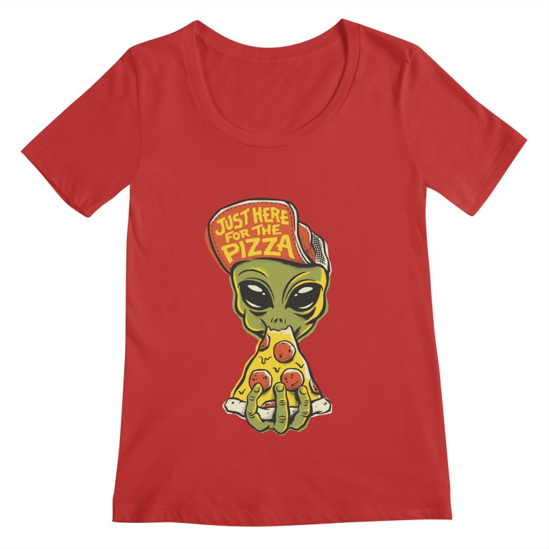 Here For Pizza Women's Regular Scoop Neck by CPdesign's Artist Shop