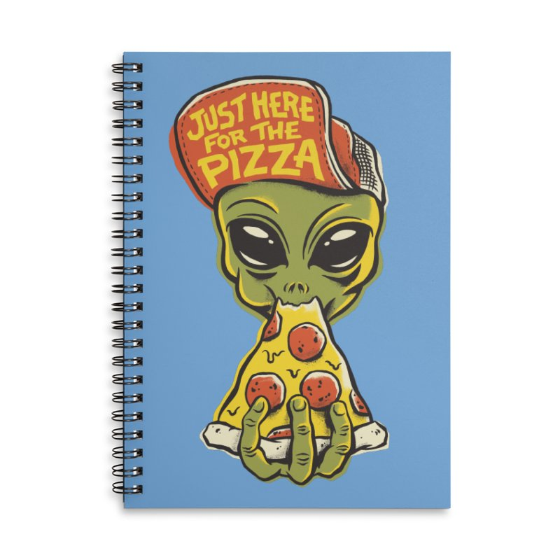 Here For Pizza Accessories Lined Spiral Notebook by CPdesign's Artist Shop