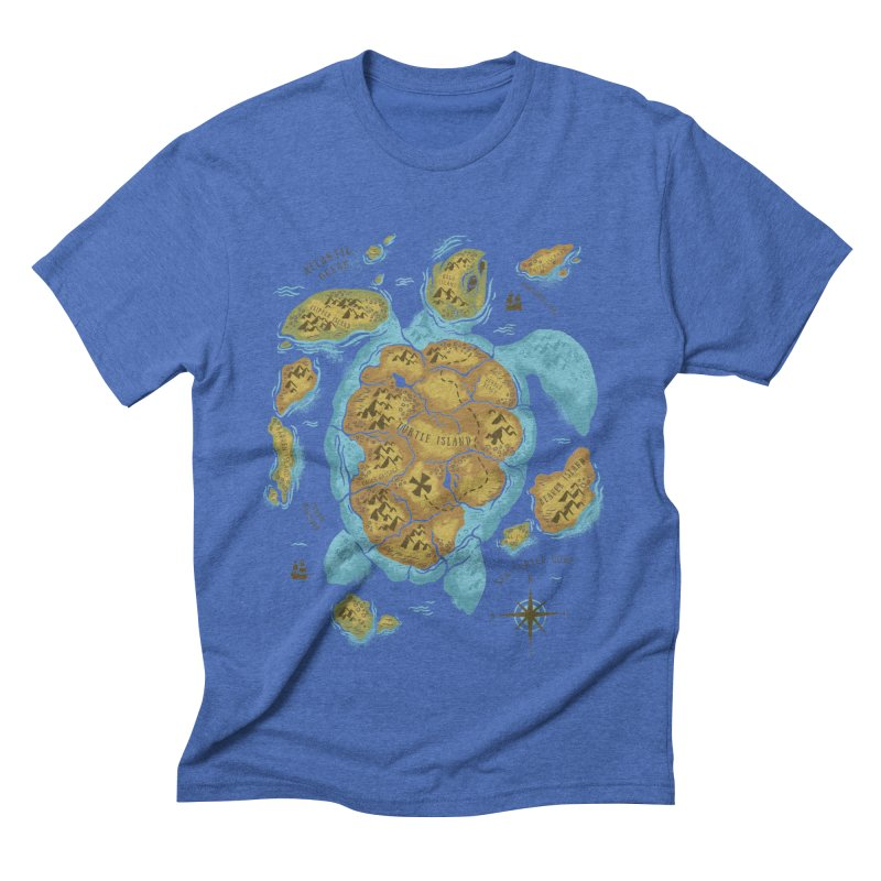 Sea Turtle Island Men's Triblend T-shirt by CPdesign's Artist Shop
