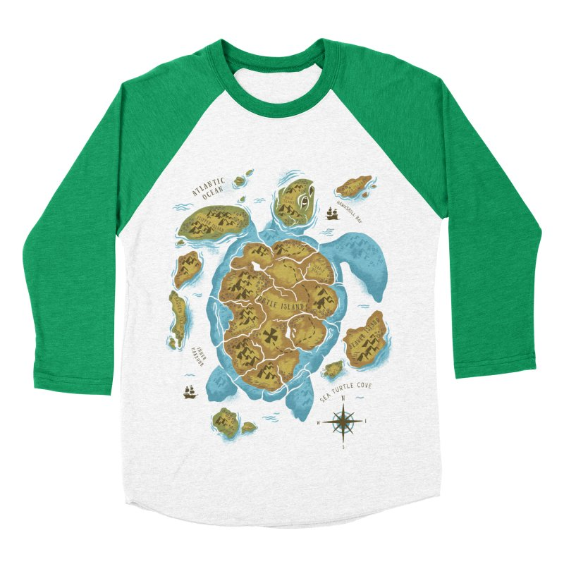 Sea Turtle Island Women's Baseball Triblend T-Shirt by CPdesign's Artist Shop