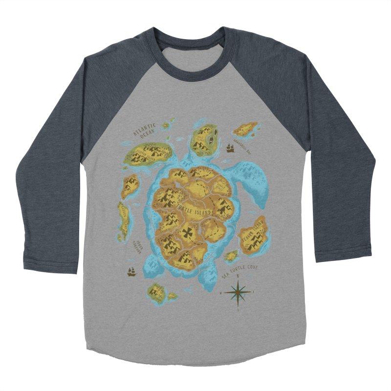 Sea Turtle Island Men's Baseball Triblend T-Shirt by CPdesign's Artist Shop