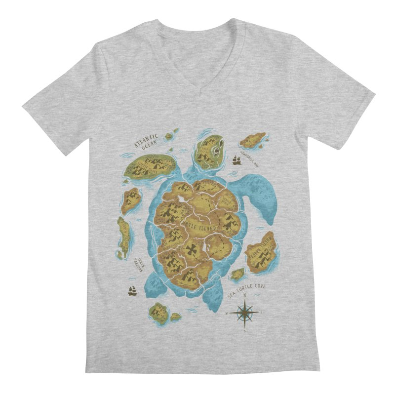 Sea Turtle Island Men's V-Neck by CPdesign's Artist Shop