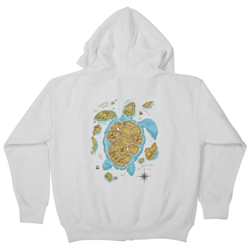 Sea Turtle Island Kids Zip-Up Hoody by CPdesign's Artist Shop