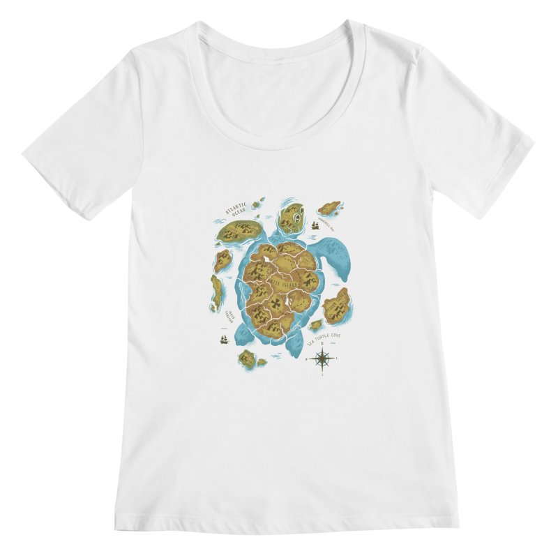 Sea Turtle Island Women's Scoopneck by CPdesign's Artist Shop