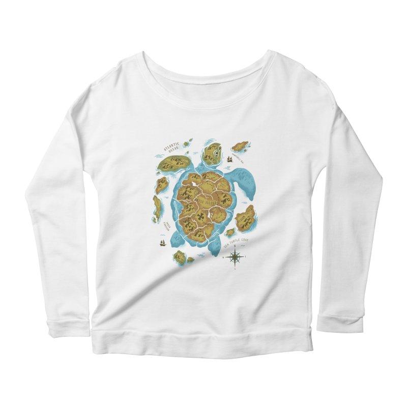 Sea Turtle Island Women's Longsleeve Scoopneck  by CPdesign's Artist Shop