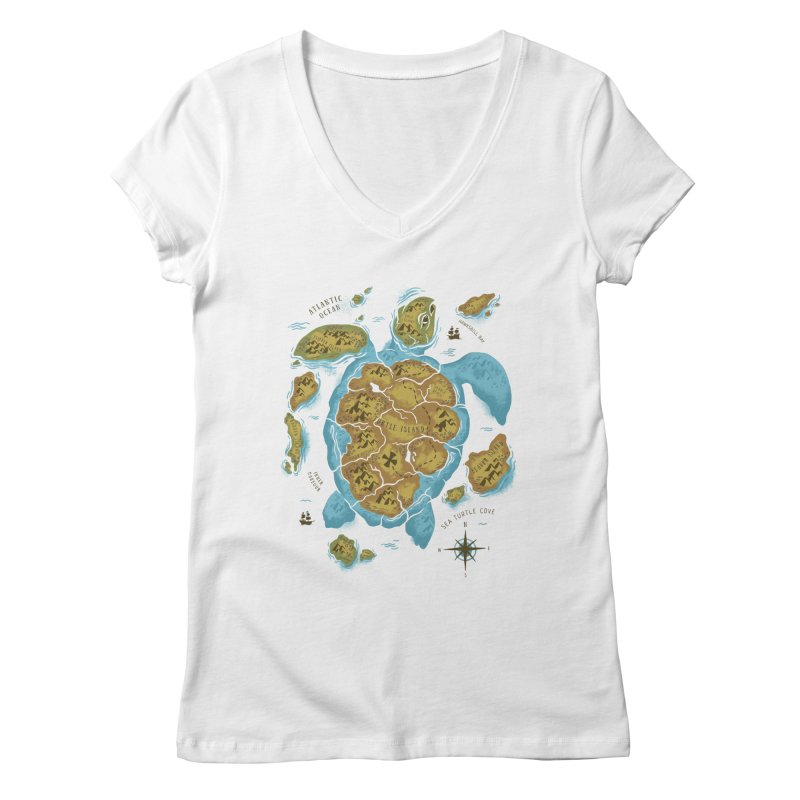 Sea Turtle Island Women's V-Neck by CPdesign's Artist Shop