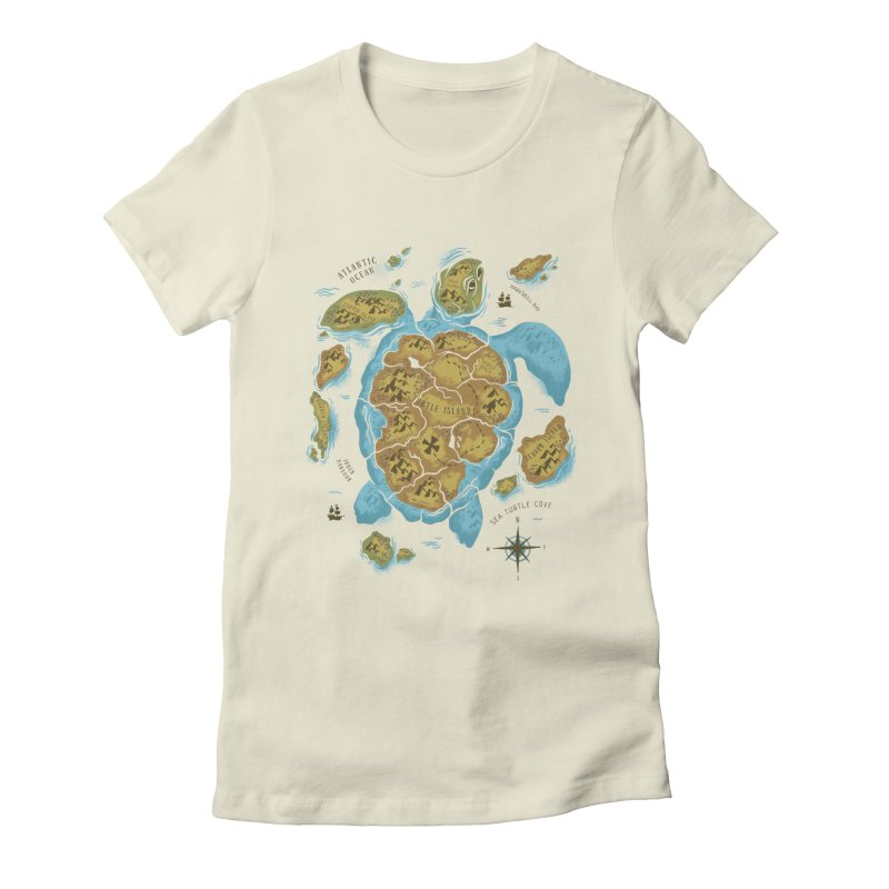 Sea Turtle Island Women's Fitted T-Shirt by CPdesign's Artist Shop