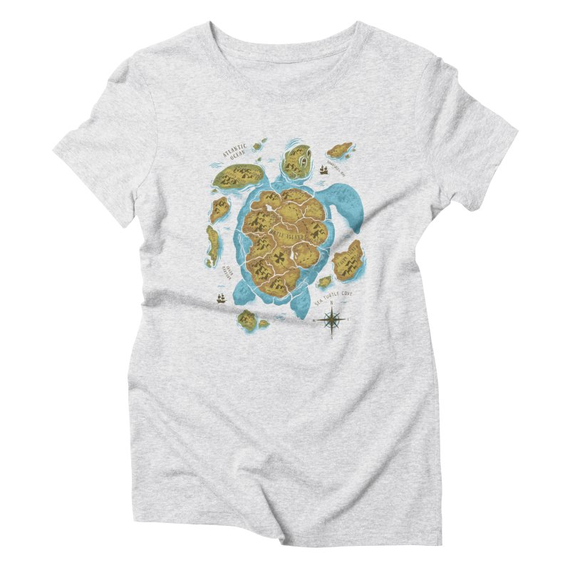 Sea Turtle Island Women's Triblend T-shirt by CPdesign's Artist Shop