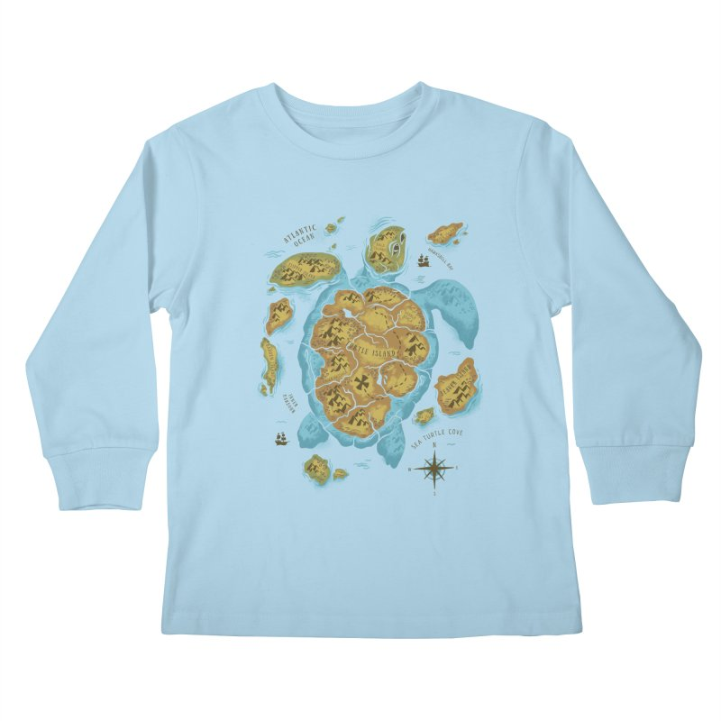 Sea Turtle Island Kids Longsleeve T-Shirt by CPdesign's Artist Shop