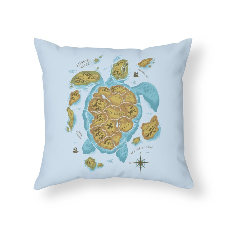 Sea Turtle Island Home Throw Pillow by CPdesign's Artist Shop