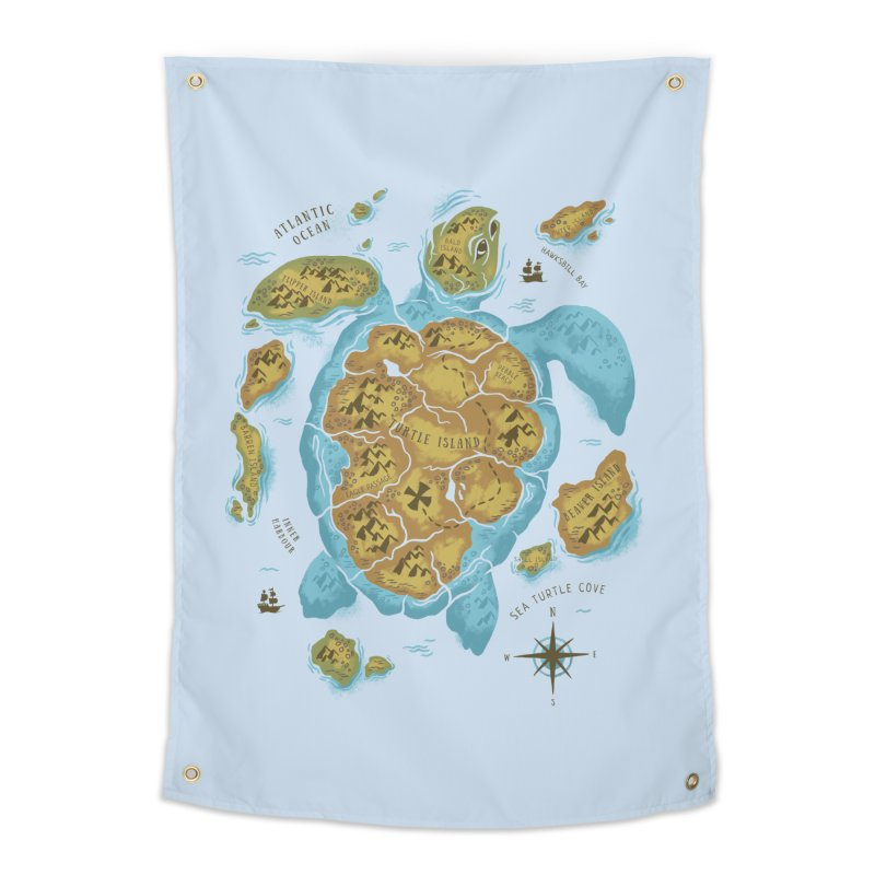 Sea Turtle Island Home Tapestry by CPdesign's Artist Shop