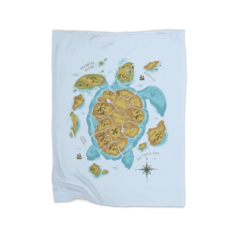 Sea Turtle Island Home Fleece Blanket by CPdesign's Artist Shop