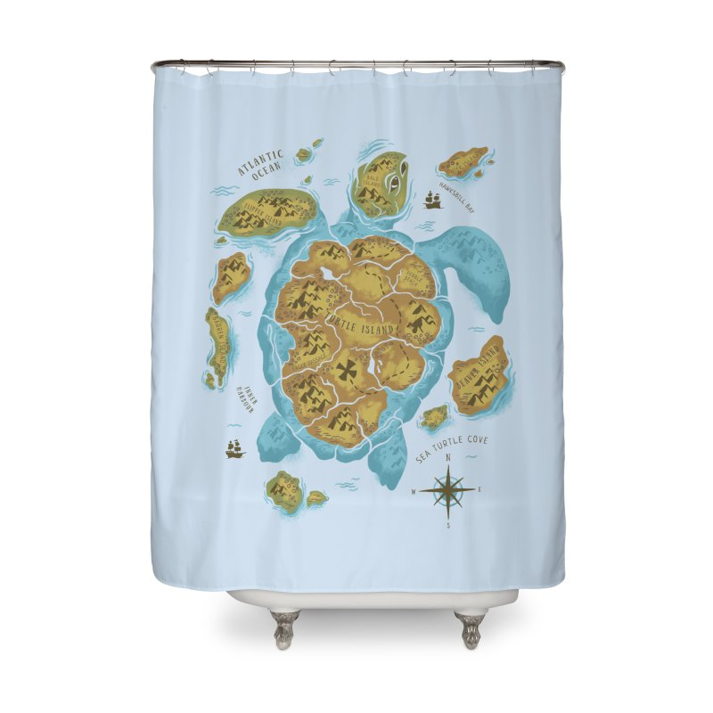 Sea Turtle Island Home Shower Curtain by CPdesign's Artist Shop