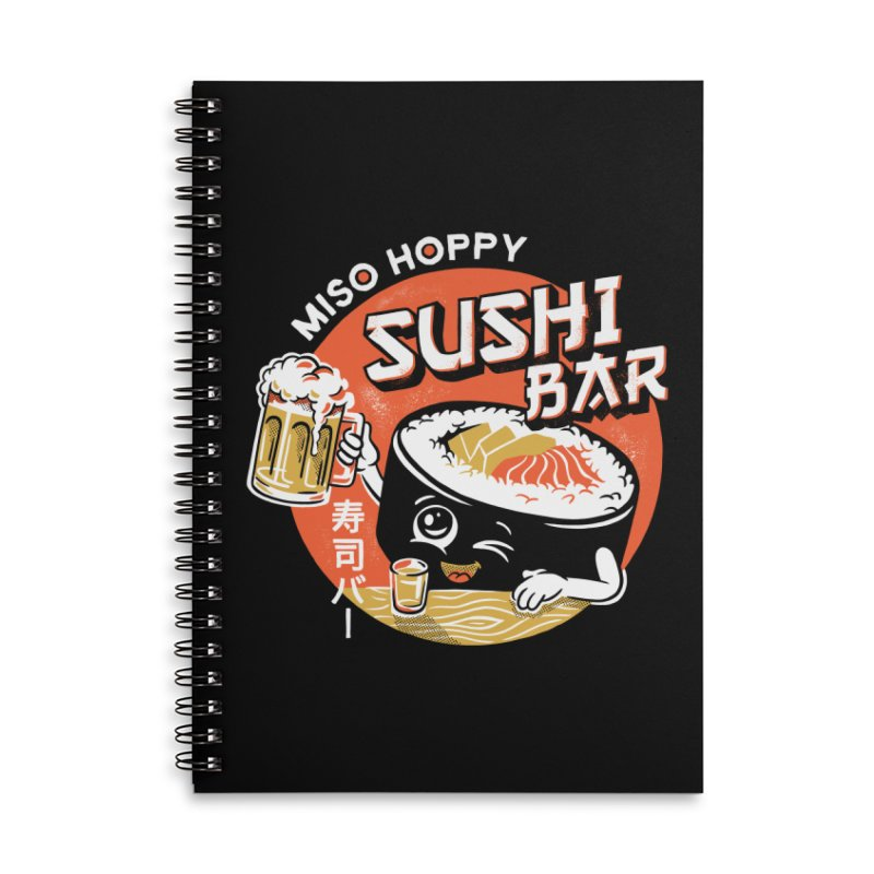 Sushi Bar - black variant Accessories Lined Spiral Notebook by CPdesign's Artist Shop