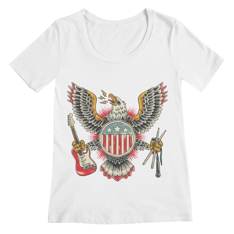 American Rockstar Women's Regular Scoop Neck by CPdesign's Artist Shop