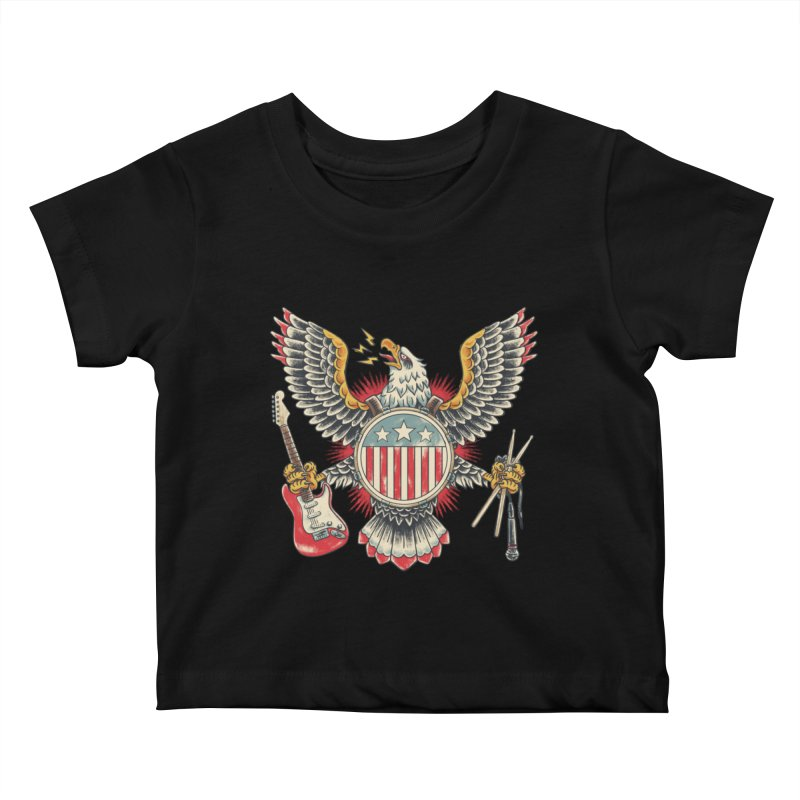 American Rockstar Kids Baby T-Shirt by CPdesign's Artist Shop