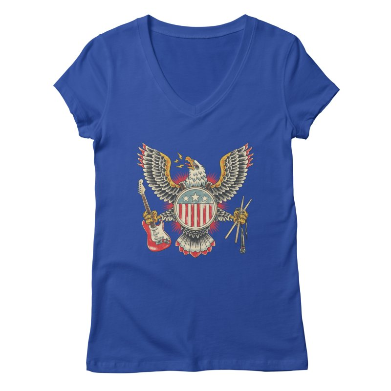 American Rockstar Women's V-Neck by CPdesign's Artist Shop