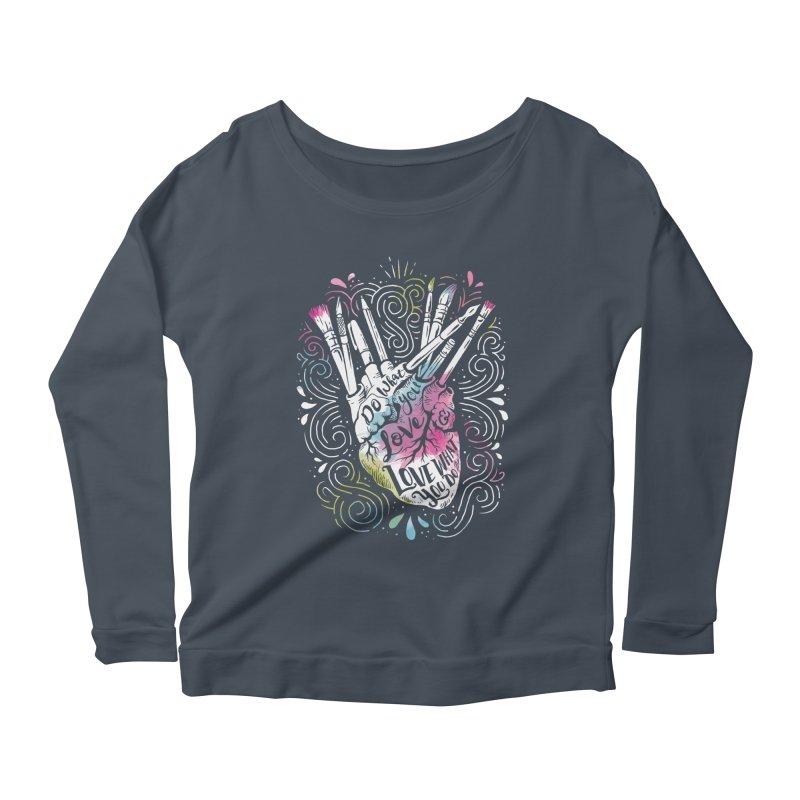 A Heart For Art Women's Longsleeve Scoopneck  by CPdesign's Artist Shop