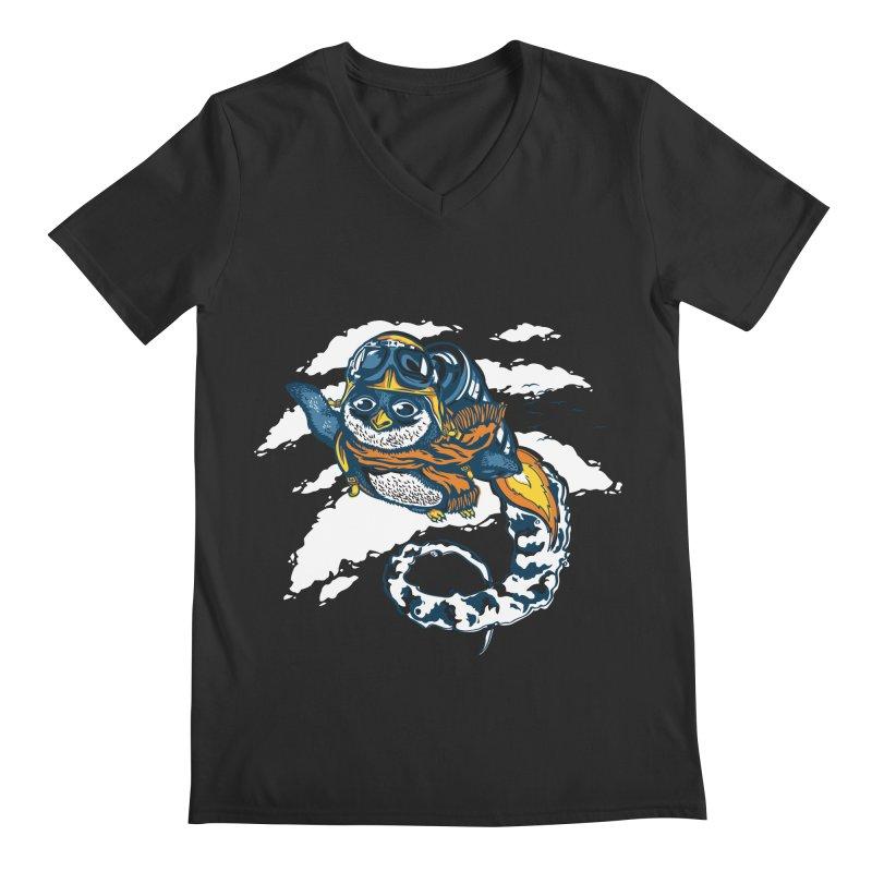 Flying Penguin Men's V-Neck by CPdesign's Artist Shop