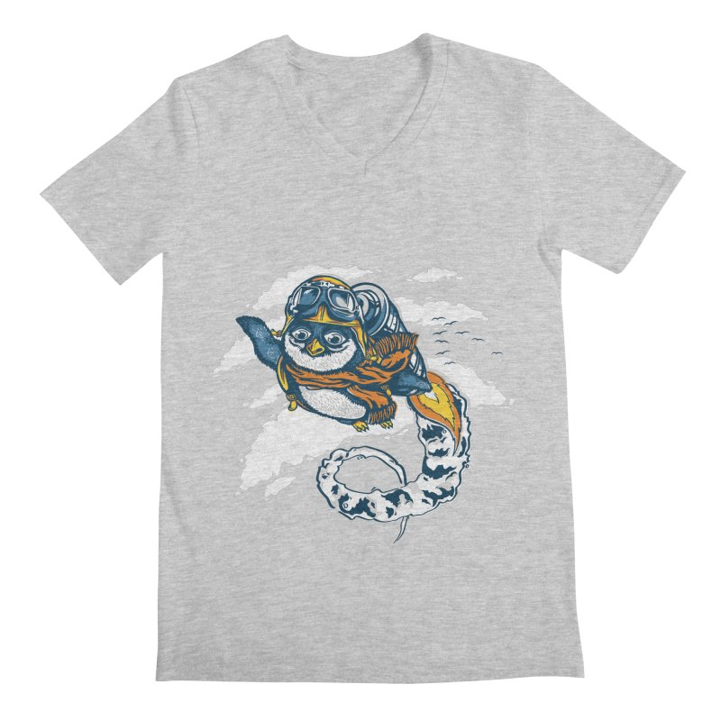 Flying Penguin Men's V-Neck by CPdesign's Artist Shop