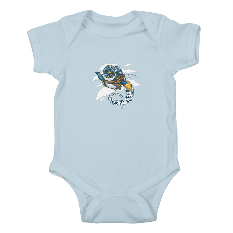 Flying Penguin Kids Baby Bodysuit by CPdesign's Artist Shop
