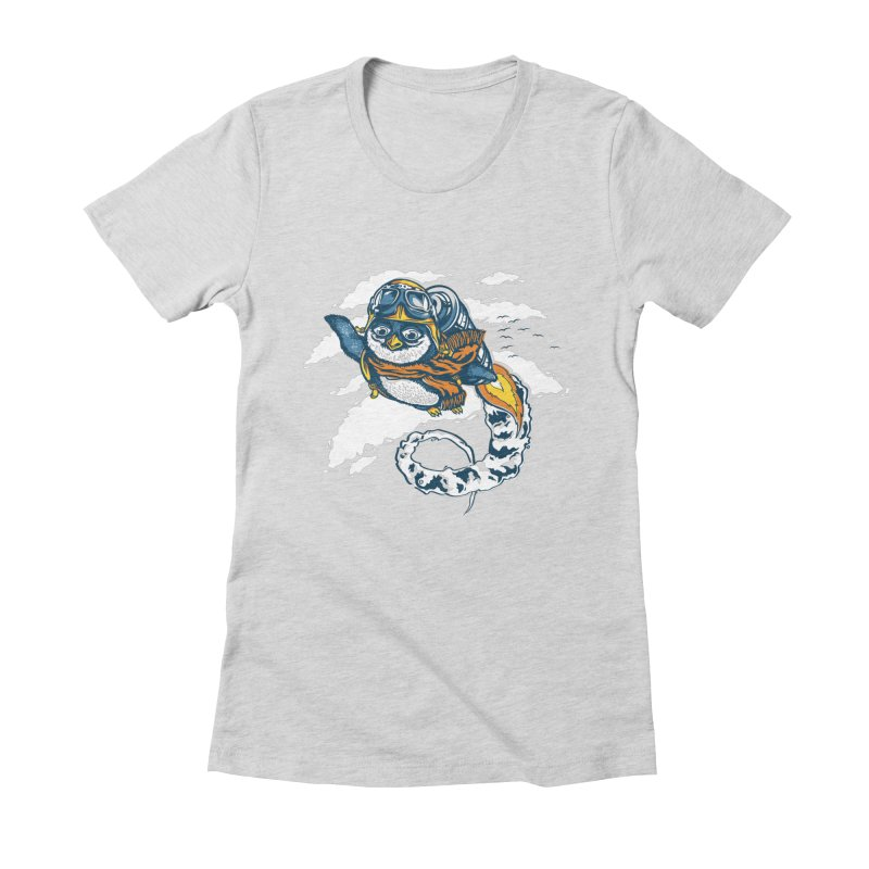 Flying Penguin Women's Fitted T-Shirt by CPdesign's Artist Shop